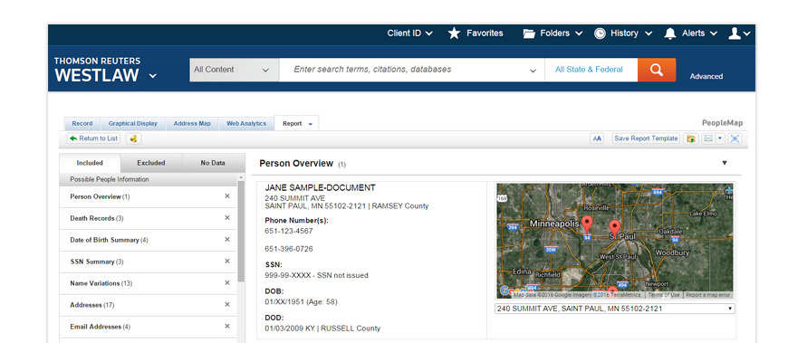 PeopleMap on Westlaw relevant, real-time results in seconds