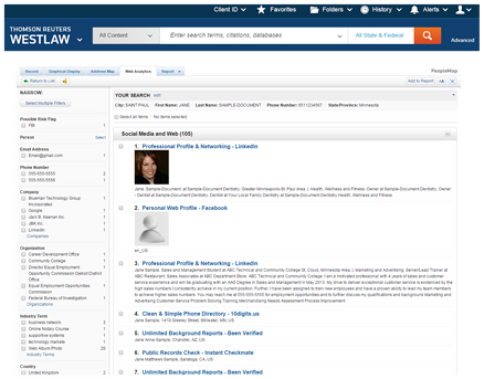 PeopleMap on Westlaw offers deep social searching