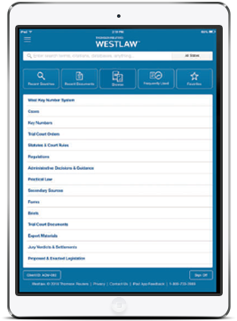 Westlaw Mobile App interface