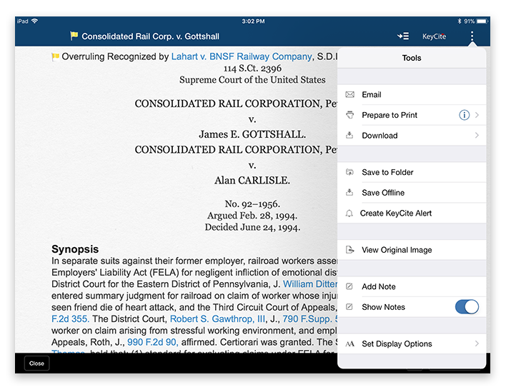 Deliver documents via email, print or Save to Folder on Westlaw App