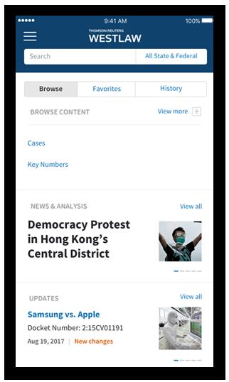 News & Analysis on Westlaw App