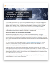 Customer Due Diligence Rule: The financial industry's new role of law enforcement