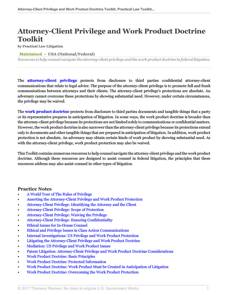 Attorney-Client Privilege and Work Product Doctrine Toolkit
