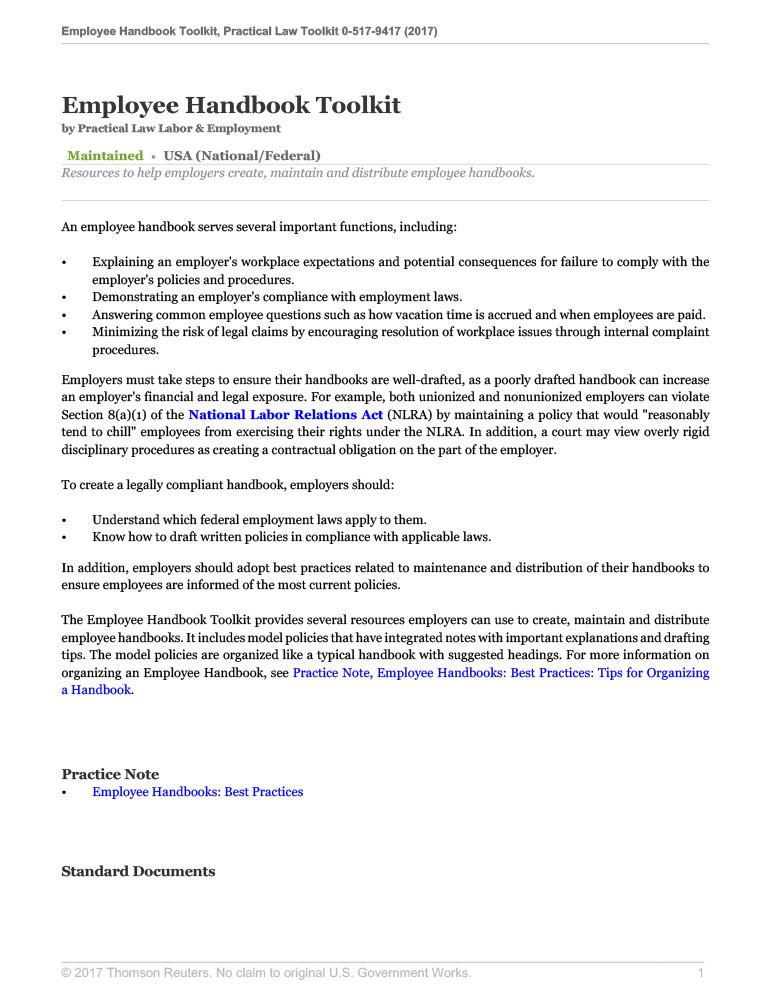Employee Handbook Toolkit