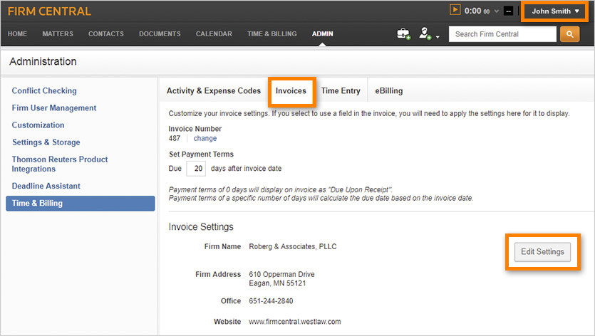 How To Customize Your Invoices In Firm Central Time  Billing