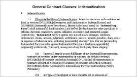 General Contract Clauses­Indemnification