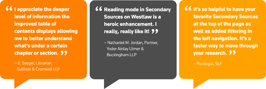 See what customers are saying about the Secondary Sources redesign