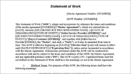 Statement of Work Goods or Services Contract
