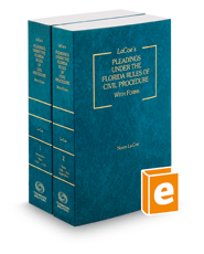 La Coe's Pleadings Under the Florida Rules of Civil Procedure, with Forms, 2017-2018 ed.