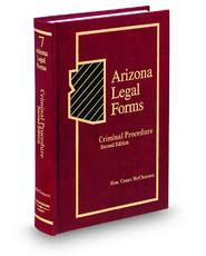 Criminal Procedure, 2d (Vol. 7, Arizona Legal Forms)