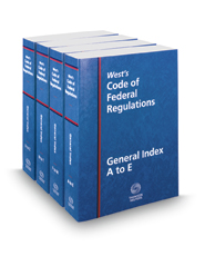 West's Code of Federal Regulations General Index, 2017 ed.