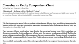 Choosing an Entity Comparison Chart