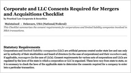 Corporate and LLC Consents Required for Mergers and Acquisitions Checklist