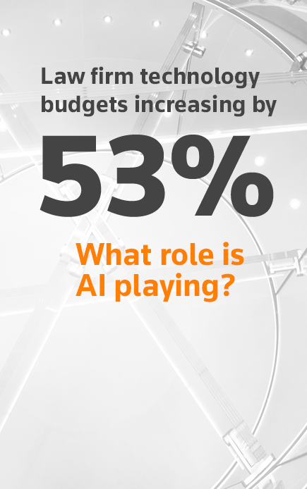 Law firm technology budgets increasing by 53%.  What role is AI playing