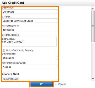 Edit credit cards screenshot