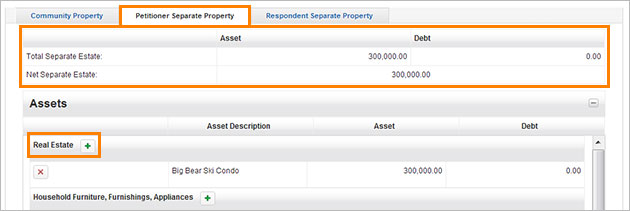 Petitioner Separate Property screenshot