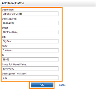 Petitioner Separate Property- Edit Real Estate screenshot