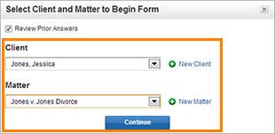 Select a Client and Matter screenshot
