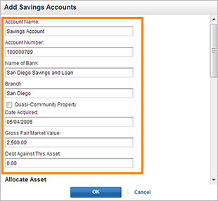 Assets- Edit Savings account screenshot