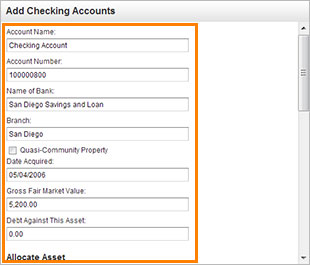 Assets- Edit Checking Account