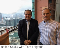 Justice Scalia with Tom Leighton.