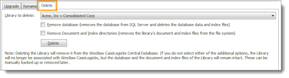 On the Libraries tab in the Administrator, click the Delete tab