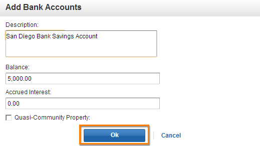 Bank Account Entry