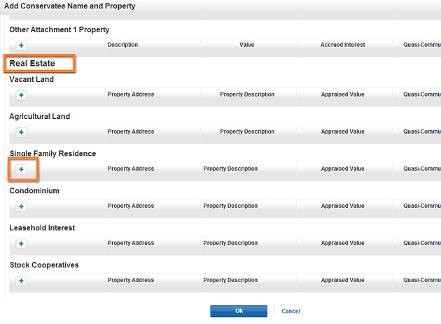 Add Conservatee Name and Property