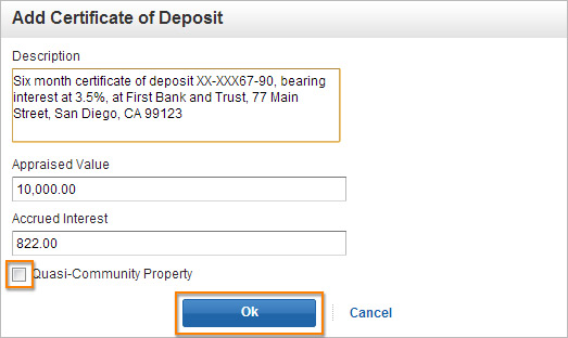 Add Certificate of Deposit