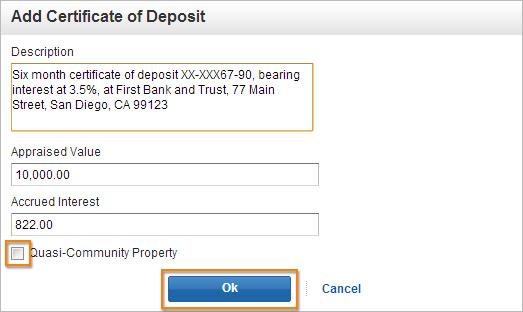 Add Certificate of Deposit