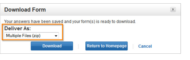 Download Form dialog box