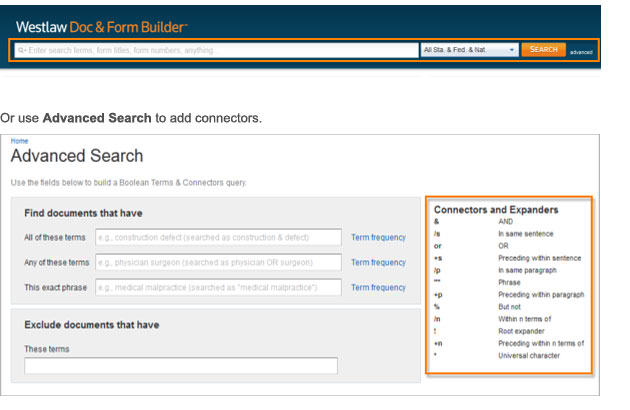 Use the Default Search or use Advanced Search to add connectors