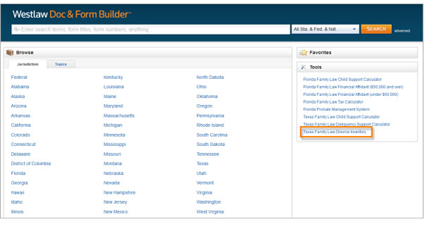 Texas Family Law Divorce Inventory Calculator under the Tools box on the Form Builder homepage