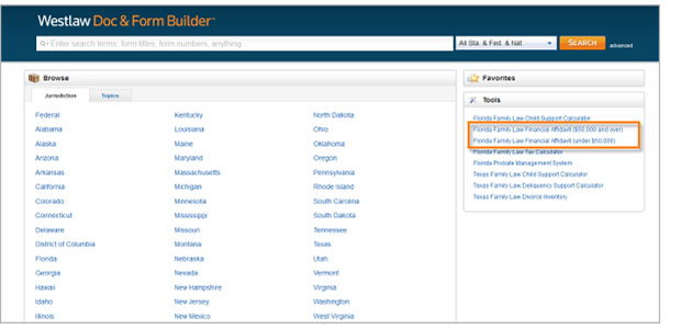 Florida Family Law Financial Affidavit Calculators under the Tools box on the Form Builder homepage