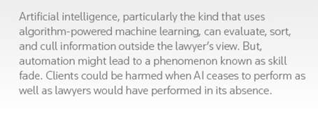 Artificial intelligence, particularly the kind that uses algorithm-powered machine learning, can evaluate, sort, and cull information outside the lawyer's view. But, automation might lead to a phenomenon known as skill fade. Clients could be harmed when AI ceases to perform as well as lawyers would have performed in its absence.
