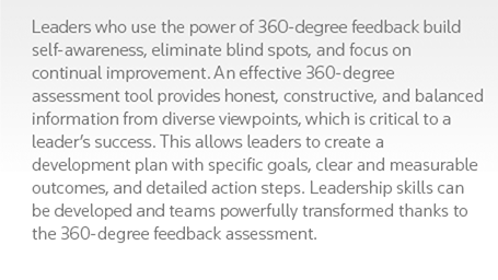 Leaders who use the power of 360-degree feedback build self-awareness, eliminate blind spots, and focus on continual improvement. An effective 360-degree assessment tool provides honest, constructive, and balanced information from diverse viewpoints, which is critical to a leader's success. This allows leaders to create a development plan with specific goals, clear and measurable outcomes, and detailed action steps. Leadership skills can be developed and teams powerfully transformed thanks to the 360-degree feedback assessment.