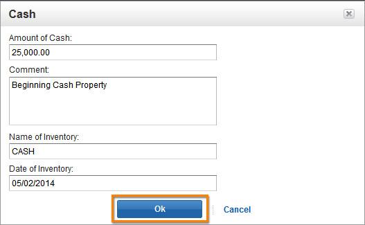 Add Beginning Community Property Cash