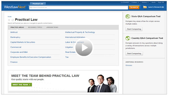 Practical Law - Westlaw screenshot